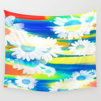 White Floating Flowers in Blue, Yellow, Peach, and Red Wall Tapestry by Jenartanddesign