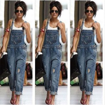 Dark Blue Plain Studded Pockets Casual Long Jumpsuit