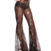 Black Sequin Mesh Bell Bottom Pants