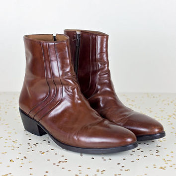 mens beatle boots 13 / brown leather mens ankle boots / zipper hipster rocker boots