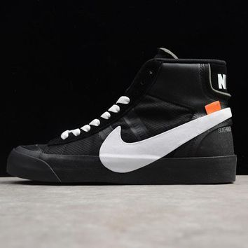 Off-White x Nike Blazer Studio Mid Black White The Ten