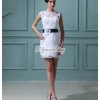 A Line Flowers Lace Sleeveless Bateau Short & Mini Wedding Dresses EF207BW