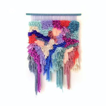 Woven wall hanging / Furry Landscape n.3  // Handwoven Tapestry Headboard Wall hanging Weaving Fiber Textile Wall Art Woven Jujujust