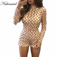2016 Autumn Sequin Playsuit For women Rompers Sexy One Piece Outfits Short sleeve High neck Black Gold Sequined Slim Bodycon
