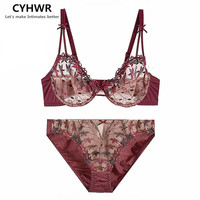 CYHWR Women Luxury Lace Ultra Thin Breathable Underwear Embroidery Floral Push Up Lingerie Bra and Brief Set