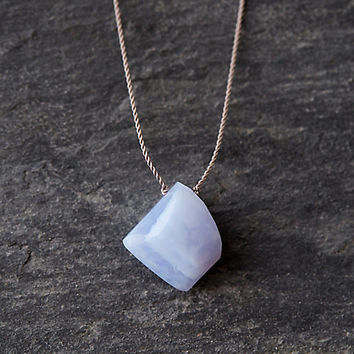 Periwinkle Chalcedony Nugget Necklace