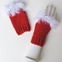 Red Valentine's Day Wristwarmers, Fingerless Texting Gloves, Furry White Trim, Cute Fashion Accessory, Ready to Ship