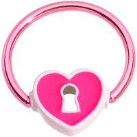 """16 Gauge 1/2"""" Pink Anodized Titanium Heart Lock BCR Captive Ring 