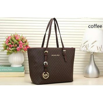 MK Trending Women Stylish Signature Leather Handbag Tote Satchel Shoulder Bag Coffee