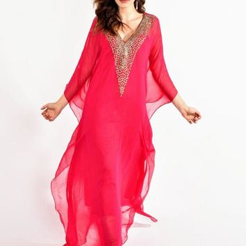 KAFTAN dress BEACH caftan boho maxi dress in fuchsia bridal beaded caftan wedding dress