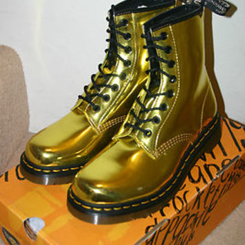 BNIB! DR MARTENS RARE DISCONT. KORAM FLASH METALLIC GOLD or PINK 8 EYE BOOTS!