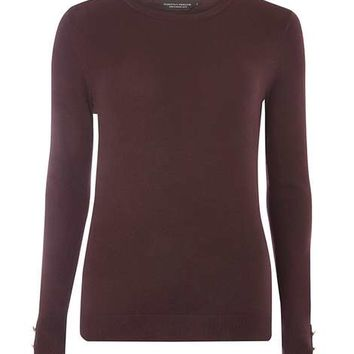 Aubergine Button Cuff Jumper - New In Clothing - New In