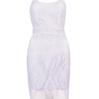 Light Purple Lace Spaghetti Strap Bodycon Dress - Choies.com