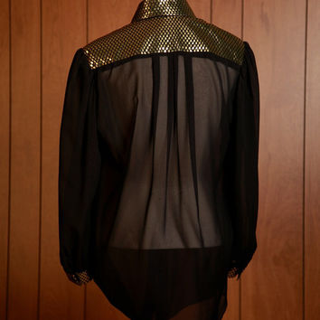 Vintage black sheer blouse with gold metallic collar and cuff detail