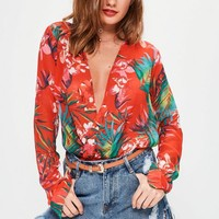 Missguided - Tall Red Tropical Printed Wrap Bodysuit