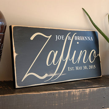 Family Wood Sign, First Name Last Name Sign, Est. Sign, Rustic Wood Sign Finish