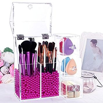 Lifewit Langforth 5mm Thick Acrylic Makeup Organizer Case with Rosy Pearl, Type 1