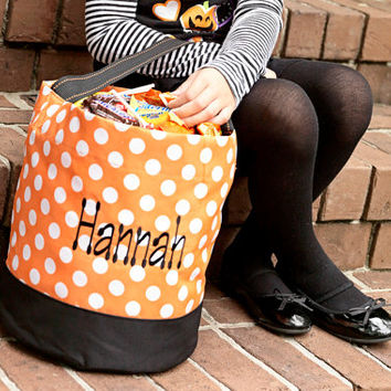 Halloween Candy Trick or Treat Polka Dot Bag Bucket  - Black Orange Personalized Monogrammed