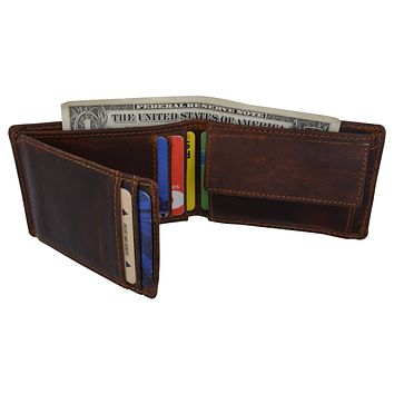 New Cazoro RFID Premium Vintage Leather Small Slim Mens Bifold Wallet with Coin Pouch