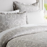 Samantha Damask Duvet Cover & Sham - Smoke Gray