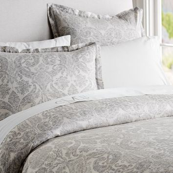 Samantha Damask Duvet Cover & Sham - Smoke Gray | Pottery Barn