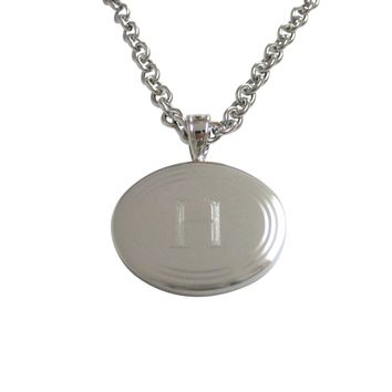 Silver Toned Etched Oval Letter H Monogram Pendant Necklace