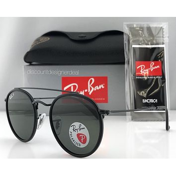 Ray-Ban Round Double Bridge RB3647N 002/58 Sunglasses Black Green Polarized 51mm
