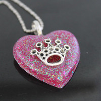 SALE Princess Diaries Raspberry Glitter Resin Heart Necklace Handmade By: Tranquilityy