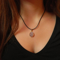 Druzy Stone Necklace with adjustable black chord