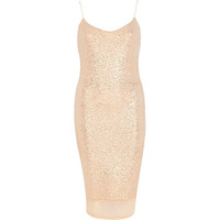 River Island Womens Nude glittery chiffon hem slip dress