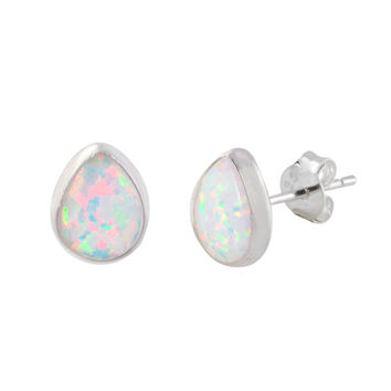 Sterling Silver White Opal Gemstone Earrings Pear-Shaped 9mm x 7mm