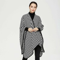 2017 New Scarves for Women Casual Winter Houndstooth Poncho Soft Shawl Plaid Cape Check Scarf for Women Fashion Knitwear