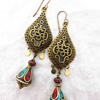 Tibetan stone and bronze metal earrings. Czech Picasso glass, red coral, turquoise stone.
