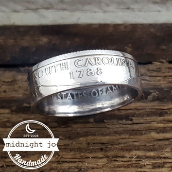 South Carolina 90% Silver State Quarter Coin Ring