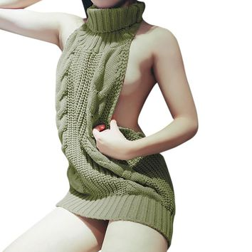 Autumn Winter Turtleneck Sleeveless Long Virgin Sweater Japanes Knitted Sexy backless Women Sweaters And Pullovers