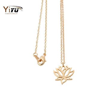 2017 New Gold and Silver Lotus Women Long Chain Necklace Small Cute Flower Plant Pendant Jewelry Simple Necklace N017