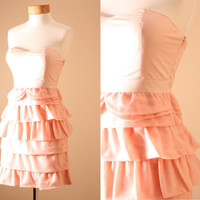 Prettiest Of All Dress - Dusty Pink, Strapless, Statement Dress, Corset, Bodice, style Ruffle Tiered, Peach