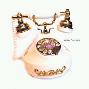 Vintage Music Box, Plastic Rotary Telephone, Plays Love Story