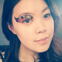1 Pair of Temporary Tattoo Makeup for Eyes Eyelids Black Floral Pattern for Spring Summer Party Club