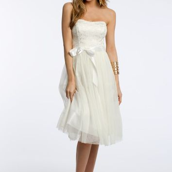 Strapless T-length Dress with Foil