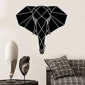Vinyl Wall Decal Abstract Geometric Head Elephant African Animal Stickers (2491ig)