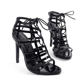 Women's High Heel Stiletto Open Toe Shoes Gladiator Sandals Strappy Cutout Pumps
