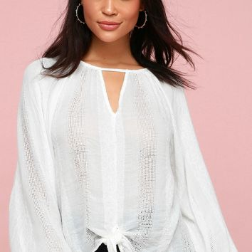 Alba White Embroidered Tie-Front Long Sleeve Top