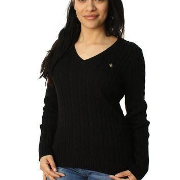 Lauren By Ralph Lauren Women's Long Sleeve V-Neck Cable Knit Sweater