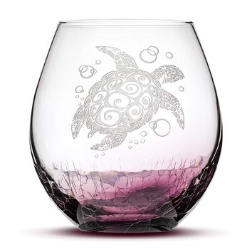 Crackle Purple Wine Glass, Sea Turtle Design, Hand Etched, 18oz