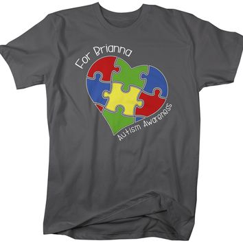 Men's Personalized Autism T-Shirt Awareness Shirts Puzzle Heart Tee Custom Support Tee