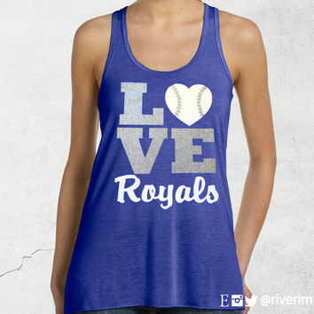 Flowy Tank, LOVE ROYALS or Your choice of Mascot, shiny 2-color glitter jersey racerback baseball tank