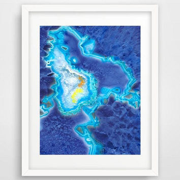 Blue agate art print, geode, bathroom wall art, deep blue, poster, agate slice, wall prints, abstract art, printable digital download