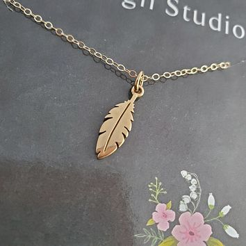 Dainty Gold Feather Charm Necklace