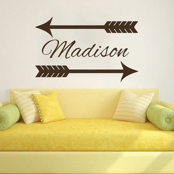 Wall Decal Name Girls Vinyl Sticker Personalized Custom Decals Art Home Decor Mural Wall Decals Nursery Baby Arrow Wall Decal Art AN720